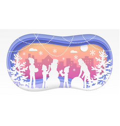 winter fun - modern paper cut vector image