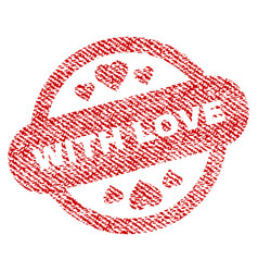 With love stamp seal fabric textured icon vector