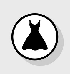 woman dress sign flat black icon in white vector image