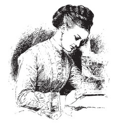 Woman reading sit vintage engraving vector