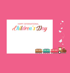 Background children day cute style with train vector