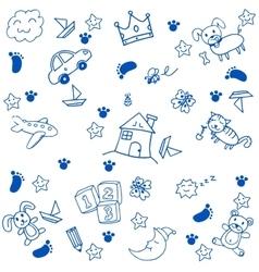Children toys doodle art vector image