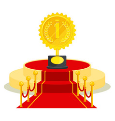 medal on red carpet vector image vector image