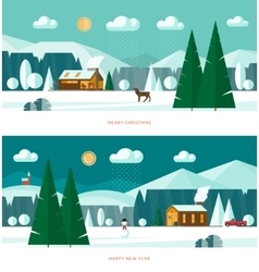 Winter landscape banners Christmas backgrounds vector image