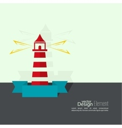 Abstract background with luminous lighthouse vector image
