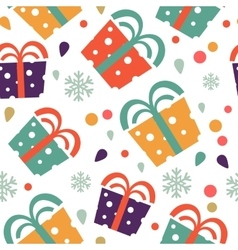 Christmas seamless pattern with colorful gift vector image