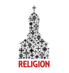 Church icon Religion cross christianity symbols vector image