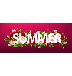 flowers with lettering summer vector image vector image