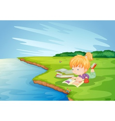 Homework in the park vector image vector image