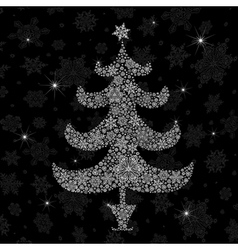 christmas tree silhouette vector image