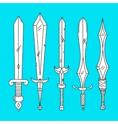 hand drown set of swords vector image vector image