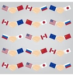 Handshake between countries vector