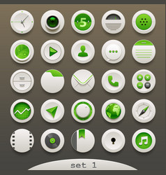 white-green round icons - set 1 vector image