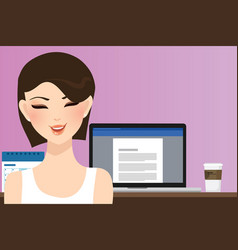 Woman smile in front of computer working in office vector