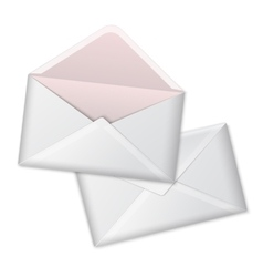 Blank white realistic envelopes opened and vector image