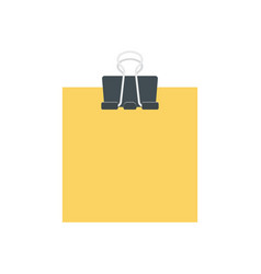 blank yellow paper held by clip vector image vector image