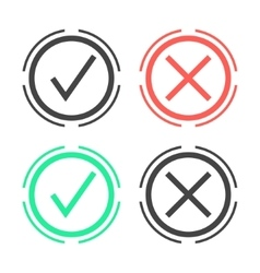 check marks in double circle vector image