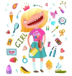 Girlish clip art collection with teenager girl and vector image vector image
