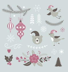 set of christmas design elements vector image vector image