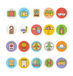 Travel Colored Icons 3 vector image vector image