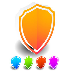 3d bright colorful shield shapes in 5 colors vector image