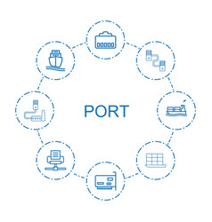 8 port icons vector image