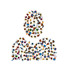 a group of people in a shape of person silhouette vector image