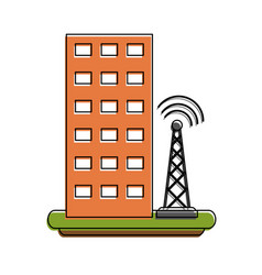 Antenna next to building telecommunications ico vector