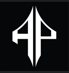 Ap logo monogram with diamond shape design vector