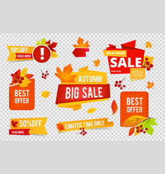 autumn sale badges collection fall sales vector image