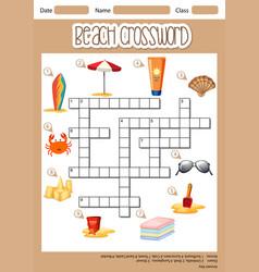 Beach cross word concept vector