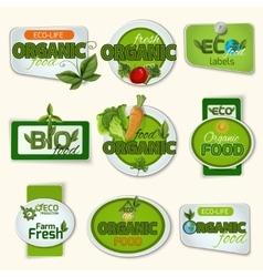 Bio organic life badges vector