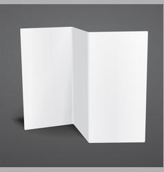 Blank white tri fold brochure template vector