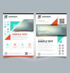 brochure template geometric triangle green orange vector image