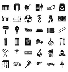 Building material icons set simple style vector