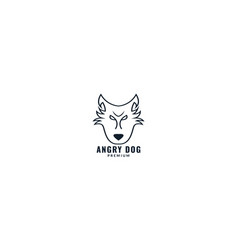 Bull terrier dog face line logo design cartoon vector