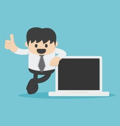Business man hand with thumb up and Computer vector