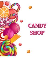 candy shop concept banner realistic style vector image