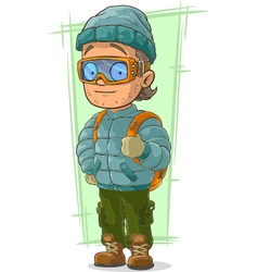 Cartoon cool tourist in cap and vector image