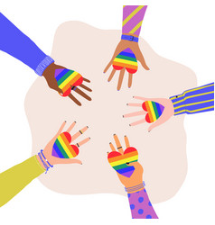 Cartoon flat hands holding hearts with rainbow vector