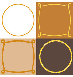 Circle and square rope frame vector