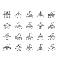 Circus tent charcoal draw line icons set vector
