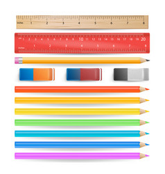 colored pencils eraser measuring ruler isolated vector image