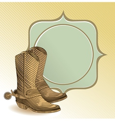 Cowboy boots in engraving style vector