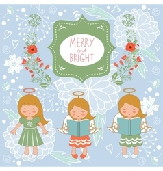 Cute Christmas card with happy angels and vector image