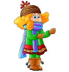 Cute Little Girl in Winter vector