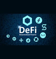 Defi - decentralized finance token symbols vector