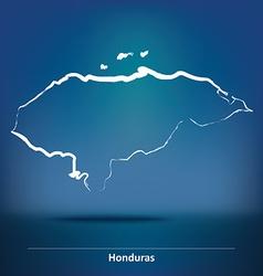 Doodle Map of Honduras vector