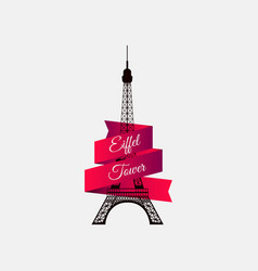 eiffel tower with ribbon the symbol of france a vector image
