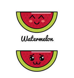 Emblem kawaii happy and shy watermelon icon vector